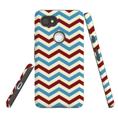 For Google Pixel 2 Protective Case, Zigzag Blue Red Pattern | iCoverLover Australia