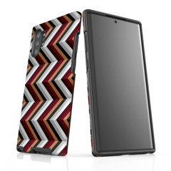 For Samsung Galaxy Note 10 Plus Protective Case, Zigzag Black Brown Red Pattern | iCoverLover Australia