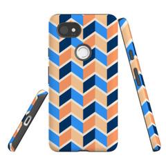 For Google Pixel 2 Protective Case, Zigzag Blue Orange Pattern | iCoverLover Australia