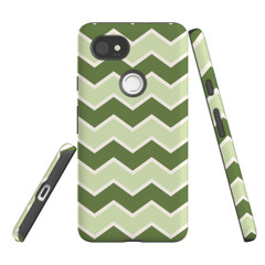 For Google Pixel 2 Protective Case, Zigzag Green Pattern | iCoverLover Australia