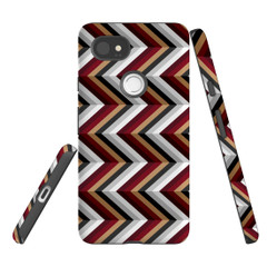 For Google Pixel 2 Protective Case, Zigzag Black Brown Red Pattern | iCoverLover Australia