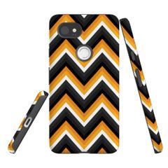 For Google Pixel 2 Protective Case, Zigzag Black Orange  Pattern | iCoverLover Australia