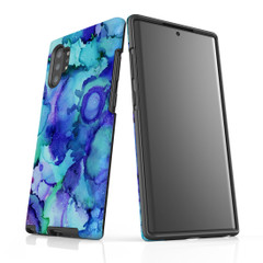 Samsung Galaxy Note Protective Case, Green Blue Watercolour