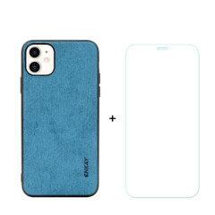 iPhone 11, 11 Pro & 11 Pro Max Case Fabric Texture Blue Cover & Tempered Glass Screen Protector | iCoverLover Australia