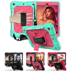 iPad 10.2in (2021,2020,2019) , 360 Rotation Protective PC + Silicone Cover, Shoulder & Hand Strap, Pencil SlotiPad Cases   iCoverLover.com.au