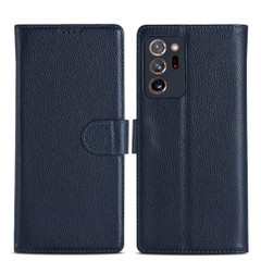 Samsung Galaxy Note 20, 20 Ultra Case Fashion Cowhide Genuine Leather Wallet Cover Blue
