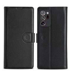 Samsung Galaxy Note 20, 20 Ultra Case Fashion Cowhide Genuine Leather Wallet Cover Black