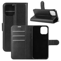 For iPhone 12 Pro Max/12 Pro/12 mini Lychee Texture Folio Protective Case Wallet, Black | iCoverLover Australia