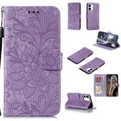 For iPhone 12, 12 mini, 12 Pro, 12 Pro Max Case, Floral Lace Pattern PU Leather Wallet Cover, Purple | iCoverLover Australia