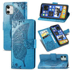 For iPhone 12, 12 mini, 12 Pro, 12 Pro Max Case, Butterfly PU Leather Wallet Cover, Lanyard & Stand, Blue | iCoverLover Australia