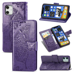 For iPhone 12, 12 mini, 12 Pro, 12 Pro Max Case, Butterfly PU Leather Wallet Cover, Lanyard & Stand, Dark Purple | iCoverLover Australia