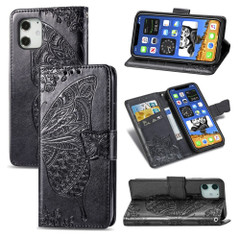 For iPhone 12, 12 mini, 12 Pro, 12 Pro Max Case, Butterfly PU Leather Wallet Cover, Lanyard & Stand, Black | iCoverLover Australia
