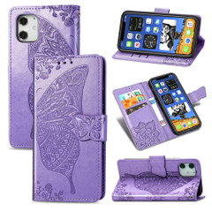 For iPhone 12, 12 mini, 12 Pro, 12 Pro Max Case, Butterfly PU Leather Wallet Cover, Lanyard & Stand, Light Purple | iCoverLover Australia
