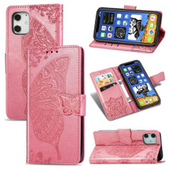 For iPhone 12, 12 mini, 12 Pro, 12 Pro Max Case, Butterfly PU Leather Wallet Cover, Lanyard & Stand, Pink | iCoverLover Australia