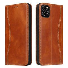 iPhone 12 Pro Max/12 Pro/12 mini Case, Brown Fierre Shann Genuine Cowhide Leather Cover, 2 Card Slots, Cash Pocket & Stand | iCoverLover Australia