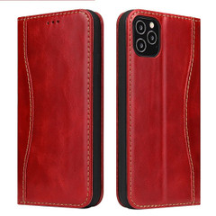 iPhone 12 Pro Max/12 Pro/12 mini Case, Red Fierre Shann Genuine Cowhide Leather Cover, 2 Card Slots, Cash Pocket & Stand | iCoverLover Australia