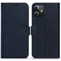 iPhone 12 Pro Max/12 Pro/12 mini Case, Fashion Cowhide Genuine Leather Wallet Cover, Blue | iCoverLover Australia