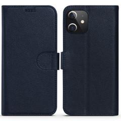 iPhone 12 Pro Max/12 Pro/12 mini Case, Fashion Cowhide Genuine Leather Wallet Cover, Blue | iCoverLover Australia