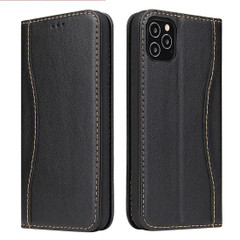 iPhone 12 Pro Max/12 Pro/12 mini Case, Black Fierre Shann Genuine Cowhide Leather Cover, 2 Card Slots, Cash Pocket & Stand | iCoverLover Australia