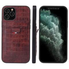 iPhone 12 Pro Max/12 Pro/12 mini Case, Crocodile Pattern PU Leather Card Slot Cover, Brown | iCoverLover Australia