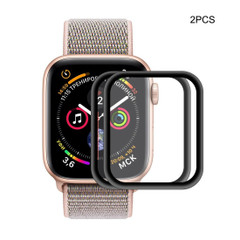 2-Pack For Apple Watch 44mm & 40mm Full 3D Tempered Screen Protector Aluminum Alloy Black Frame