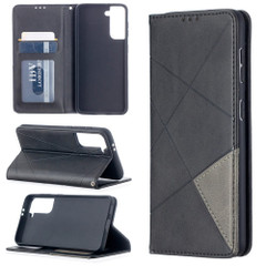 For Samsung Galaxy S21 Ultra/S21+ Plus/S21 Case, Geometric Folio Magnetic PU Leather Wallet Cover & Stand, Black | iCoverLover.com.au | Phone Cases