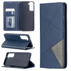 For Samsung Galaxy S21 Ultra/S21+ Plus/S21 Case, Geometric Folio Magnetic PU Leather Wallet Cover & Stand, Blue | iCoverLover.com.au | Phone Cases