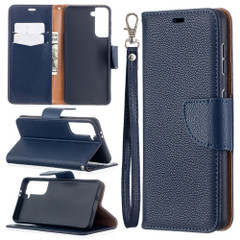 For Samsung Galaxy S21 Ultra/S21 Case, Lychee Texture Folio PU Leather Wallet Cover, Stand & Lanyard, Dark Blue | iCoverLover.com.au | Phone Cases