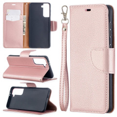 For Samsung Galaxy S21 Ultra/S21 Case, Lychee Texture Folio PU Leather Wallet Cover, Stand & Lanyard, Rose Gold | iCoverLover.com.au | Phone Cases