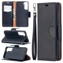 For Samsung Galaxy S21 Ultra/S21 Case, Lychee Texture Folio PU Leather Wallet Cover, Stand & Lanyard, Black | iCoverLover.com.au | Phone Cases