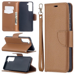 For Samsung Galaxy S21 Ultra/S21 Case, Lychee Texture Folio PU Leather Wallet Cover, Stand & Lanyard, Brown | iCoverLover.com.au | Phone Cases