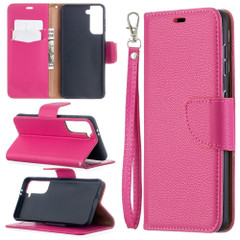 For Samsung Galaxy S21 Ultra/S21 Case, Lychee Texture Folio PU Leather Wallet Cover, Stand & Lanyard, Rose Red | iCoverLover.com.au | Phone Cases