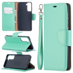 For Samsung Galaxy S21 Ultra/S21 Case, Lychee Texture Folio PU Leather Wallet Cover, Stand & Lanyard, Green | iCoverLover.com.au | Phone Cases