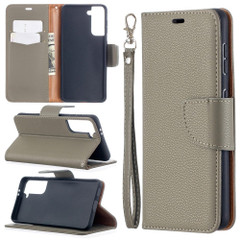 For Samsung Galaxy S21 Ultra/S21 Case, Lychee Texture Folio PU Leather Wallet Cover, Stand & Lanyard, Grey | iCoverLover.com.au | Phone Cases