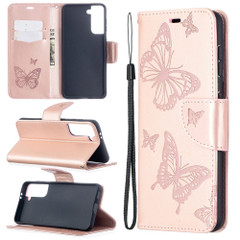 For Samsung Galaxy S21 Ultra/S21+ Plus/S21 Case, Butterflies Folio PU Leather Wallet Cover, Stand & Lanyard,Rose Gold | iCoverLover.com.au | Phone Cases