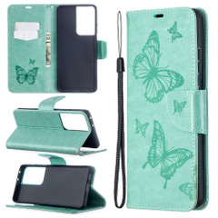 For Samsung Galaxy S21 Ultra/S21+ Plus/S21 Case, Butterflies Folio PU Leather Wallet Cover, Stand & Lanyard, Green | iCoverLover.com.au | Phone Cases