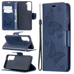 For Samsung Galaxy S21 Ultra/S21+ Plus/S21 Case, Butterflies Folio PU Leather Wallet Cover, Stand & Lanyard, Blue | iCoverLover.com.au | Phone Cases