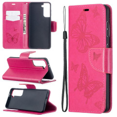 For Samsung Galaxy S21 Ultra/S21+ Plus/S21 Case, Butterflies Folio PU Leather Wallet Cover, Stand & Lanyard, Rose Red | iCoverLover.com.au | Phone Cases
