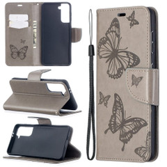 For Samsung Galaxy S21 Ultra/S21+ Plus/S21 Case, Butterflies Folio PU Leather Wallet Cover, Stand & Lanyard, Grey | iCoverLover.com.au | Phone Cases