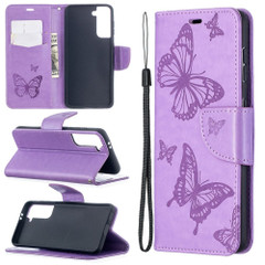 For Samsung Galaxy S21 Ultra/S21+ Plus/S21 Case, Butterflies Folio PU Leather Wallet Cover, Stand & Lanyard, Purple | iCoverLover.com.au | Phone Cases