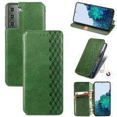 For Samsung Galaxy S21 Ultra/S21+ Plus/S21 Case, Cubic Grid Folio Magnet PU Leather Wallet Cover, Kickstand, Green | iCoverLover.com.au | Phone Cases