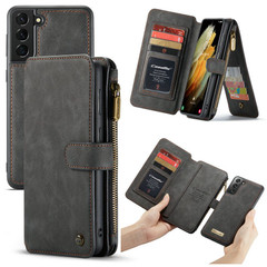 For Samsung Galaxy S21 Ultra/S21+ Plus/S21 Case Wild Horse Texture PU Leather Folio Case, Black | iCoverLover.com.au | Phone Cases
