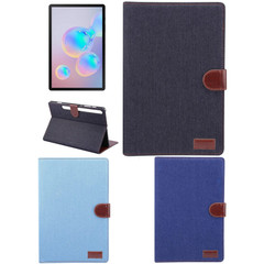 Samsung Galaxy Tab S7+ Plus (2020) (T970) Case, Denim Texture PU Leather Wallet Cover, Stand, Card & Photo Slots, Sleep/Wake-up Function   icoverlover.com.au   Tablet Cases