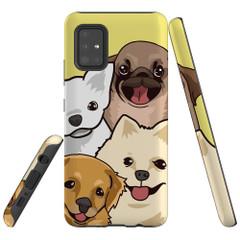 Samsung Galaxy A51 5G/4G, A71 5G/4G, A90 5G Case Tough Protective Cover Cute Puppies