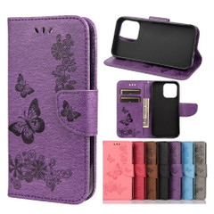 For iPhone 13 Pro Max, 13, 13 Pro, 13 mini Case, Vintage Butterflies Pattern Wallet Cover, Stand, Purple | PU Leather Cases | iCoverLover.com.au