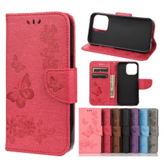 For iPhone 13 Pro Max, 13, 13 Pro, 13 mini Case, Vintage Butterflies Pattern Wallet Cover, Stand, Red | PU Leather Cases | iCoverLover.com.au