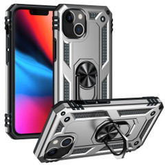 For iPhone 13 Pro Max, 13, 13 Pro, 13 mini Case, Protective Shockproof TPU/PC Cover, Ring Holder, Silver | Armour Cases | iCoverLover.com.au