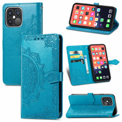 For iPhone 13 Pro Max, 13, 13 Pro, 13 mini Case, Mandala Design Wallet Cover, Blue | PU Leather Cases | iCoverLover.com.au