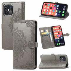 For iPhone 13 Pro Max, 13, 13 Pro, 13 mini Case, Mandala Design Wallet Cover, Grey   PU Leather Cases   iCoverLover.com.au