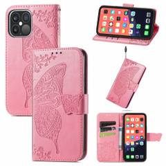 For iPhone 13 Pro Max, 13, 13 Pro, 13 mini Case, Butterfly Wallet Cover, Lanyard & Stand, Pink | PU Leather Cases | iCoverLover.com.au